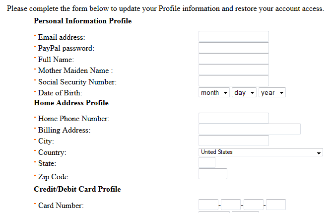 PayPal phishing example email