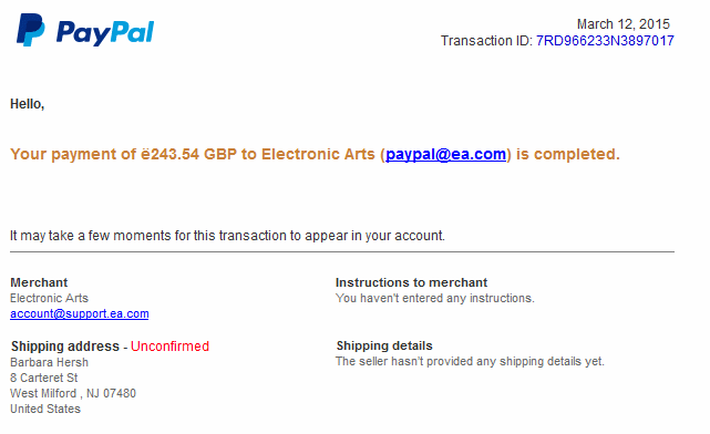 Phshing example from Paypal