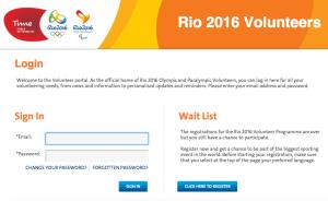 Rio 2016 volunteer portal