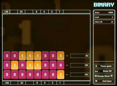 Binary Tetris games