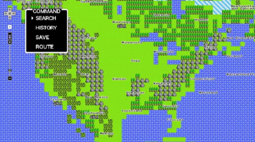 Google Maps 8-bit for NES
