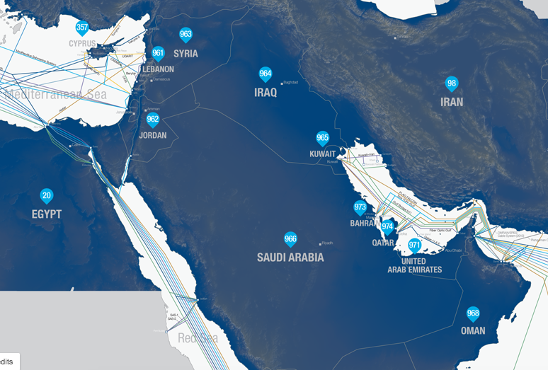 Internet map Middle East