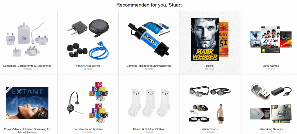 Amazon recommended products page