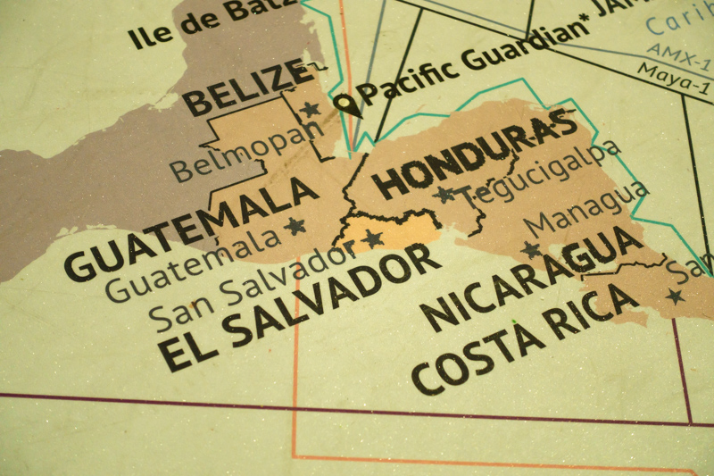 Internet backbone map of Central America